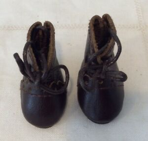 """1 1/2"""" Dark Brown Leather Boots for Antique or Modern Dolls"""