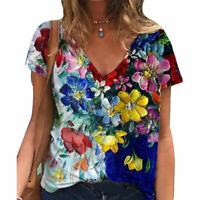 Women T-Shirt Short Sleeve V Neck Floral Casual Loose Tunic Tops Blouse Tees