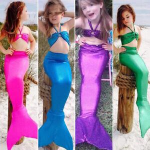 Mädchen Kinder Mermaid Meerjungfrau Schwanz Badeanzug Bademode Bikini Set