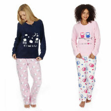Ladies Novelty Animal Coral Fleece Pyjama PJ Set Top Bottoms Forever Dreaming