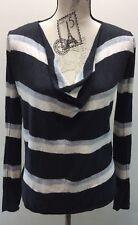 Tommy Bahama Women Sweater Small Long Sleeve Black White Stripe Wool Blend Scoop