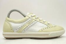 Ecco Cream Leather Wingtip Spikeless Golf Sneakers Shoes Women's 36 / 5 - 5.5