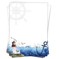 50 Blatt Briefpapier A4 Briefbögen Motivpapier Meer Leuchtturm Maritim Anker