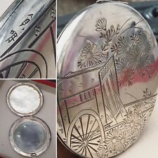 Antique Large Japanese 950 Sterling Silver Etched Art Powder Case Compact 3.8 Oz