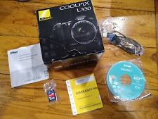 Nikon COOLPIX L330 20.2MP Digital Camera Black w/ Box & SD card  USED ONCE !