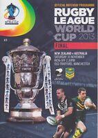 RUGBY LEAGUE WORLD CUP 2013 FINAL NEW ZEALAND v AUSTRALIA MINT PROGRAMME