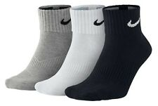 Nike Socks Men's Quarter Black White Grey 3 Pairs BRAND NEW 5 - 8 or 8 - 11
