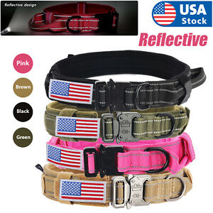 Nylon Adjustable Tactical heavy duty large Dog Collar K9 with Metal Buckle USA