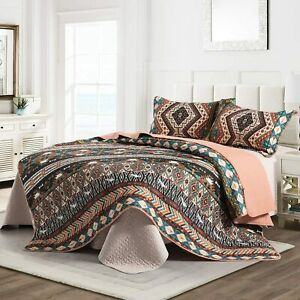 3pc Quilt Set Quilted Coverlet Black Brown Teal Tribal Western for King Bed