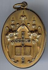 *WH&CO ANTIQUE VICTORIAN RHINESTONE GOLD FILL CHURCH ALTER BIBLE CROSS LOCKET*