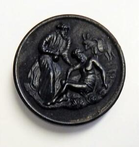 Rare Large Black Dyed Horn Picture Button THE GOOD SAMARITAN
