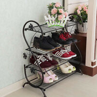 New S Shape 4 Tier 65cm Wrought Iron Shoe Rack Stand Storage Shelf Organiser