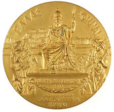 1903 Greece INTERNATIONAL EXPOSITION IN ATHENS by Hond gilt-bronze 60mm