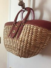 Coach Straw Red Leather Large Woven Tote Handbag