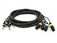 """10ft 4 Channel 1/4"""" TRS 6.35mm Male to 3 Pin XLR Female Audio Snake Cable Cord"""