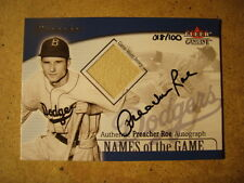 RARE 2001 FLEER NAMES OF THE GAME PREACHER ROE Autograph Game-Worn Jersey 18/100