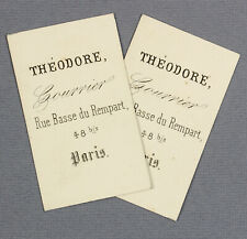 c1880s | 'Theodore' | scarce pair of identical Parisian courier's business cards