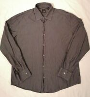 Hugo Boss Mens Diamond Check Grey Long Sleeve Shirt  Size XXL