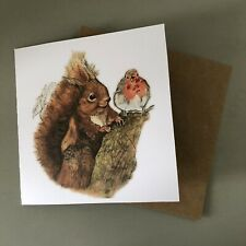 Illustrated Robin Red Squirrel Christmas Glitter Wildlife Card