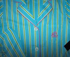 NWT Ralph Lauren AQUA Blue/Green/Pink Stripes KNIT Pajamas SHORTS/Top Set L CUTE