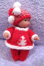 "Hand Knitted Clothes for 5"" Berenguer Doll (#48)"