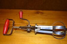 VTG HAND MIXER Egg Beater, kitchen gadget whisk  BLUE WHIRL mechanical RED