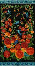 Black Arcadia Panel w/Metallic by Timeless Treasures-Birds-Flowers-Black B/G