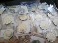 Isle of Man  Gibratar Chistmas fifty various 50p coins