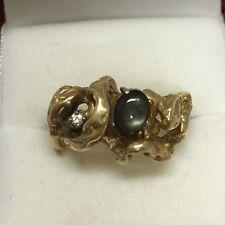 Designer Strell Black Star Sapphire Diamond 14K Yellow Gold Molten Ring Size 9