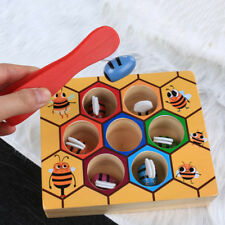 Children Preschool Wooden Bee Clip Out Montessori Educational Toy Kids Game Gift