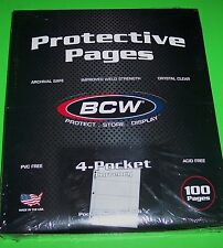 "100 PRO 4-POCKET CURRENCY PAGES FOR SMALL BILLS-ACID FREE-2 5/8"" x 6 1/8"" BILLS"