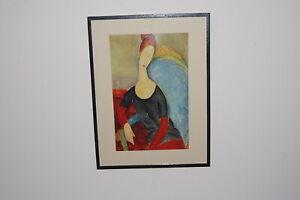 "Vintage framed Amedeo Modigliani, ""Mme Hebuterne in a Blue Chair 191 art  print."