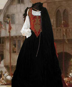 5p Renaissance Dress RED Chenille BODICE Velvet SKIRT CLOAK CHEMISE hoop Custom