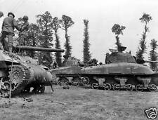 B&W WWII Photo US Army M4 Sherman Tank Repairs WW2 World War Two Armor
