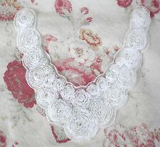 Scalloped SHABBY Ribbon Flower ROSE Neckline Applique - WHITE