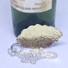 Lungo Argento Sterling Collana Catena a sfera con foglia fatti a mano martellato in ottone