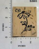 PSX 1998 Wood Block Rubber Stamp Butterfly Flower Spring Leaf F-2528
