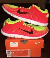 Nike Women's Free Run 4.0 Flyknit Pink Yellow Roshe Running 1 2 3 4 6 Boost 5 8