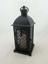 Flameless Candle and Black Metal Decorative Lantern