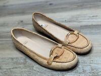 Stuart Weitzman Shoes Beige Patent Leather Ballet Flats Loafers Buckle Size 8