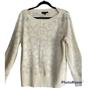 Ann Taylor Size XL Cream Floral Long Sleeve Boat Neck Pullover Wool Sweater New