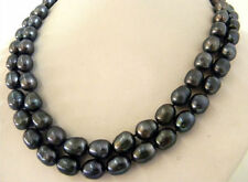 """NEW 9-10mm baroque south sea black Natural pearl necklace 34"""""""