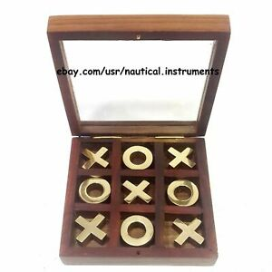 Wooden Puzzle Tic Tac Toe - Brass Inlaid Wooden Strategy Toy Game - Brain Teaser