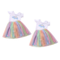 "2x Summer Fashionable Rainbow Dress for 16-18"" Dolls Dress up Clothes Gifts"