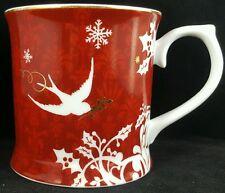 Starbucks Christmas Mug Rosanna Holly Swallow Dove Bird Red White Gold Snowflake