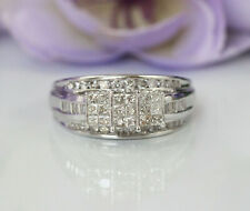 Gorgeous 14K White Gold 1 ct Natural Diamonds Invisible Setting Engagement Ring