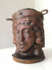 Antique carved wooden urn box with bronze hooks