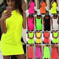 Women Summer Sleeveless Mini Dress Casual Beach Holiday Evening Party Sundress