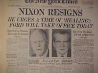 VINTAGE NEWSPAPER HEADLINE~PRESIDENT NIXON IMPEACHED RESIGNS FORD IN OFFICE 1974