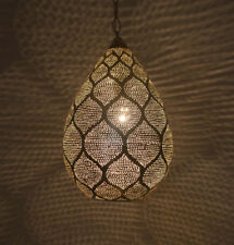 Handcrafted Moroccan Silver Plated Brass Ceiling light Fixture Lamp